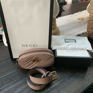Gucci Marmont Belt Bag Tan 38in 95cm NWT